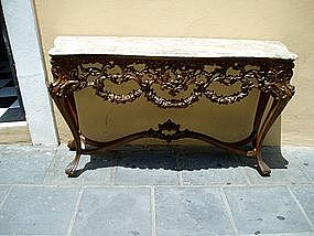 Portuguese 19thc Carved Walnut Console  Marble Top