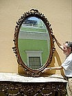 19thc Portuguese Carved Oval Beveled Mirror 1880s large