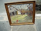 Danish Oil Painting House and Garden 1940 signed
