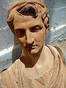 18thc French Life Size Classic Bust Alexander Great