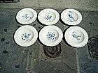 6 Italian Pottery Plates Bird Motif Hand Painted  19thc