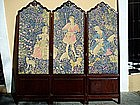Antique  19thc 3-Panel  Tapestry Screen