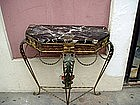 Italian Wrought Iron Marble Console Table ca 1920s