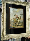 English 18thc Eglomise English  Bird Hunting Painting