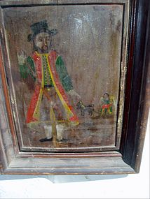 18thc Spanish Colonial oil on Wood of St Isidore