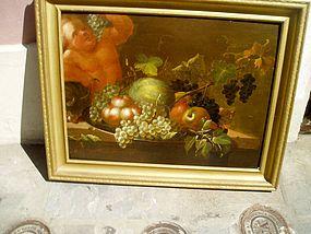 18thc Italian Still Life with Bacchus on Wood Panel