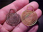 Nayarit Gold and Silver Spiral Pendants C100-800AD
