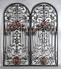 Ornate Pair Antique Spanish Wrought Iron Arched Panels