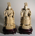 Pair Intricately Carved Chinese Ivory Emperor & Empress