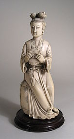 Chinese Ivory Carving, Woman Musician