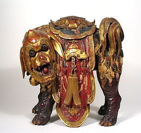 Superbly Carved Chinese Lacquered Buddhist Lion Figure