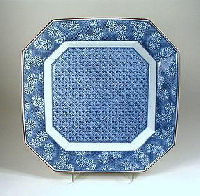Square Japanese Blue and White Porcelain Platter