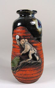 Japanese Sumida Gawa Vase with Monkey
