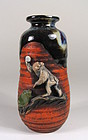Japanese Sumida Gawa Vase with Monkey