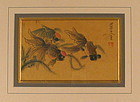 Pair 18th C. Chinese Paintings of Koi