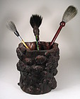 Large Chinese Scholar�s Burl Brush Pot, Qing