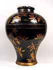 Large Chinese Black Lacquer and Gilt Wood Container