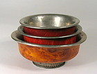 Three Antique Tibetan Burl Wood & Silver Tea Bowls