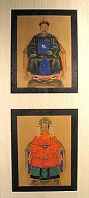 Pair of Miniature Chinese Ancestor Portraits, 19th C., Framed