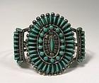 Vintage Zuni Sterling Silver & Turquoise Petitpoint Cuff Bracelet