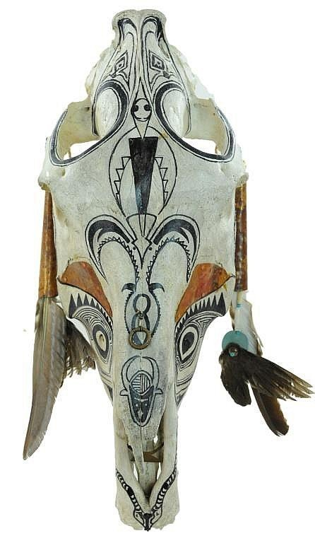 Southwestern Painted & Decorated Steer Skull
