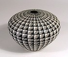 Acoma Black on White Geometric Seed Pot, Signed Viola Ortiz
