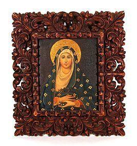 Cuzco School Painting of Virgin Mary in Ornate Frame, 19thC.