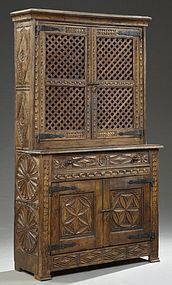 Fine Spanish Carved Oak Buffet or Hutch, Early 19th C.