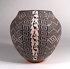 Acoma Black on White Kokopelli Coiled Olla, Signed M.C. Antonio