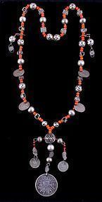 Early Southwestern Trade Bead and Silver Necklace, C. 1920