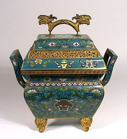 Large, Fine Chinese Cloisonné Censer or Incense Burner