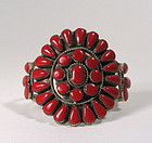 Vintage Zuni Red Coral & Silver Petit Point Cuff Bracelet