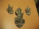 EARLY LOS CASTILLO ASIAN INSPIRED PIN AND EARRINGS
