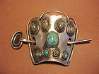 MODERNIST ART SMITH SILVER TURQUOISE HAIR CLIP