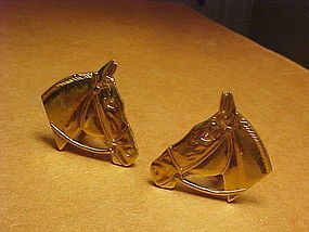 VINTAGE 14K HORSE HEAD CUFF LINKS