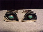 MODERNIST ED WIENER STERLING TURQUOISE CUFF LINKS