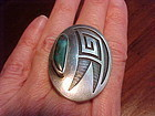 HOPI EMERY HOLMES SILVER OVERLAY TURQUOISE RING