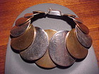 HECTOR AGUILAR SILVER AND COPPER DISCS BRACELET