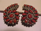 ZUNI ALICE QUAM CORAL AND STERLING EARRINGS
