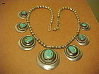 FRANK PATANIA SR. STERLING AND MORENCI TURQUOISE NECKLACE C. 1950