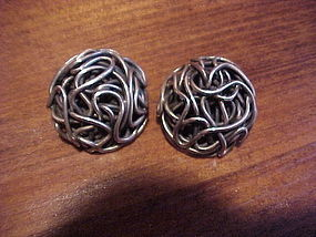 ARIZONA MODERNIST H. FRED SKAGGS STERLING EARRINGS