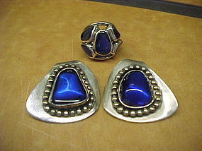 MODERNIST H. FRED SKAGGS STERLING BLUE STONE EARRINGS & RING