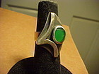 MODERNIST JULES BRENNER STERLING CHRYSOPRASE RING