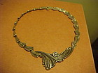 "VINTAGE MARGOT DE TAXCO STERLING ""CURLING LINES"" NECKLACE"