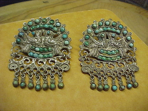 "HUGE VINTAGE ""MATL"" MATILDE POULAT STERLING TURQUOISE EARRINGS"