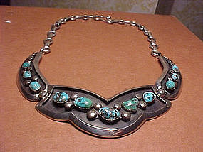 FRANK PATANIA SR. STERLING TURQUOISE NECKLACE