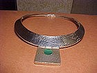 TANE MEXICO HAND HAMMERED STERLING MALACHITE NECKLACE