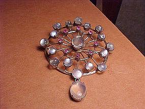 LARGE 1940'S MOONSTONE RUBY HANDMADE PIN