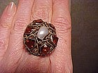 FINE ARTS & CRAFTS STERLING CITRINE BLISTER PEARL RING