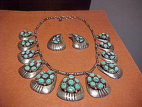 FRANK PATANIA SR. TURQUOISE NECKLACE AND EARRINGS